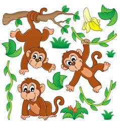 Monkey theme collection 1 vector