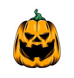 Monster yellow pumpkin with big laugh vector