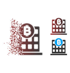 Moving pixel halftone bitcoin office building icon vector