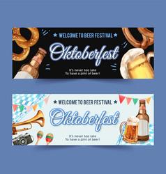 Oktoberfest banner design with pretzel beer vector