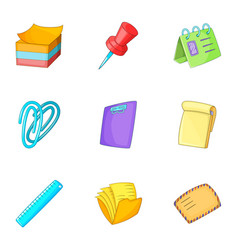 Post stationery icons set cartoon style vector