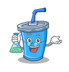 Professor soda drink character cartoon vector