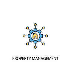 property management concept 2 colored line icon vector image