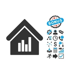 Realty Bar Chart Flat Icon with Bonus vector image