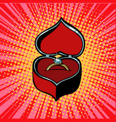 Red heart box with engagement ring vector