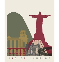 Rio de Janeiro skyline poster vector image