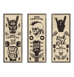rock and roll party flyers template vintage vector image