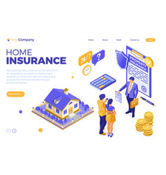 Sale purchase insurance mortgage house isometric vector