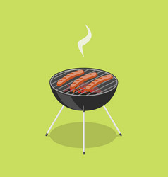 sausages in barbecue isometric vector image