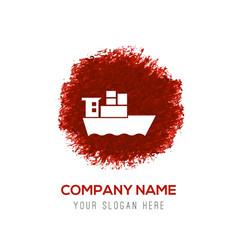 Sea ship icon - red watercolor circle splash vector