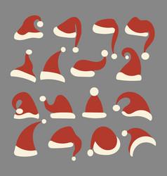 set christmas hats santa claus collection vector image