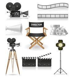 set icons cinema 04 vector image