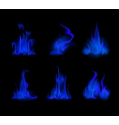 Set of Different Blue Fire Flame Bonfire Isolated vector image