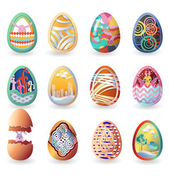 Set of easter eggs with differnt pattern isolated vector