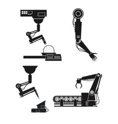 Silhouette collection robotic industrial equipment vector
