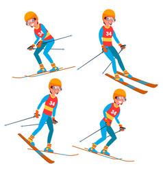skiing player male winter activities rest vector image