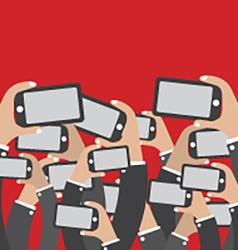 Smartphones In Hands Social Network Concept vector image