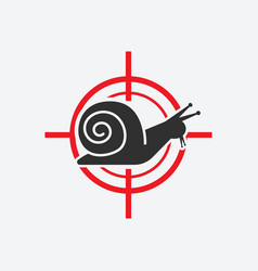 snail silhouette animal pest icon red target vector image