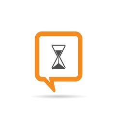 square orange speech bubble with sands clock vector image