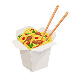 takeaway carton wok box vector image