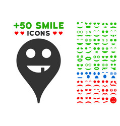 toothless smiley map marker icon with bonus vector image