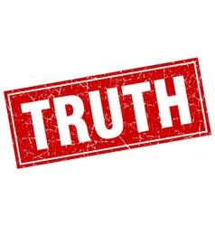 Truth red square grunge stamp on white vector