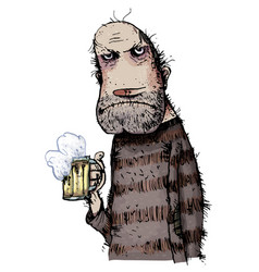 Unhappy man drinking beer vector