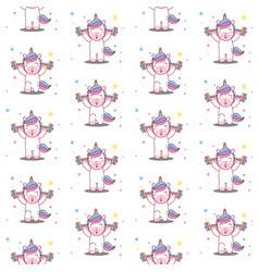 unicorn lifts barbell seamless pattern vector image