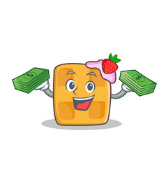 Waffle character cartoon design with money vector