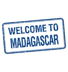 Welcome to Madagascar blue grunge square stamp vector