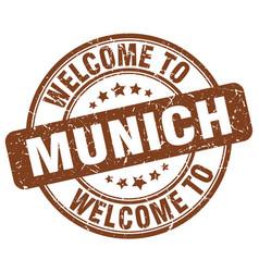 Welcome to munich brown round vintage stamp vector