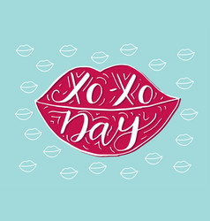 Xo- xo day hand drawn romantic quote in the shape vector