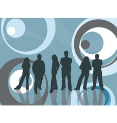 Young people on retro background vector