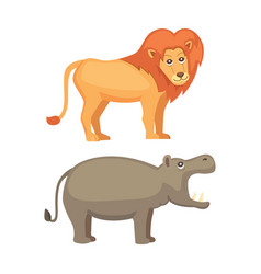 african animals cartoon set lion and hippo vector image vector image