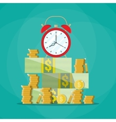 Alarm clock in a pile of stacked bills and coin vector image