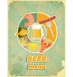 Grunge Design Beer Menu vector image vector image