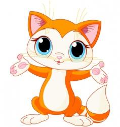 kitten raising his hands vector image vector image