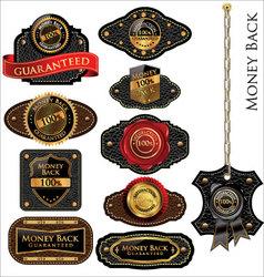 Money back Leather vintage LABELS set vector image