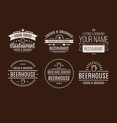 restaurant logo badges in vintage style vector image vector image