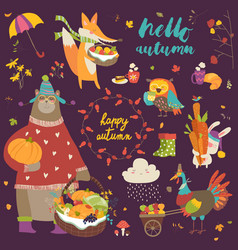 Set of cute autumn cartoon characters plants and vector