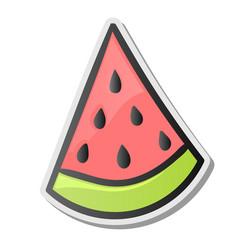 slice of watermelon sticker emoji style vector image vector image