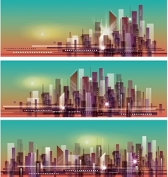 banner night cityscape vector image