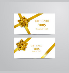 gift cards with gold bow and ribbon vector image vector image