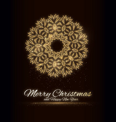 gold glitter snowflake christmas new year vector image