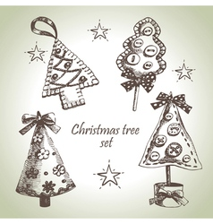 Hand drawn Christmas tree design set vector image