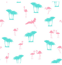 pink flamingo blue palm trees seamless pattern vector image