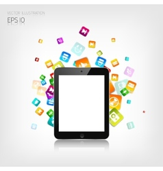 Realistic detalized flat tablet with application vector image