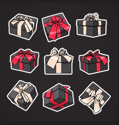 set of gift boxes icon with bow and ribbon on vector image vector image