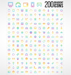 200 Trendy Thin Gradient Icons vector image vector image