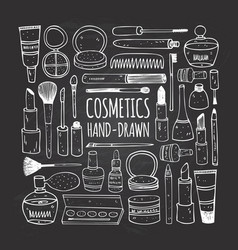 cosmetics set in doodle style vector image